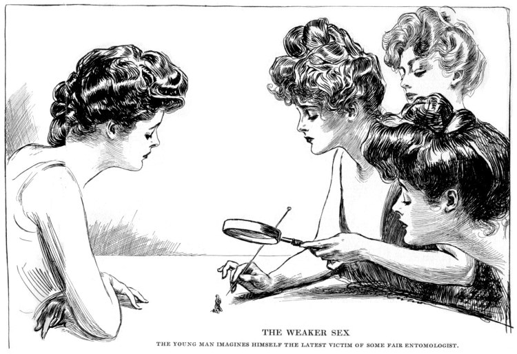 Gibson girls. They're looking at a man under the magnifying glass.
